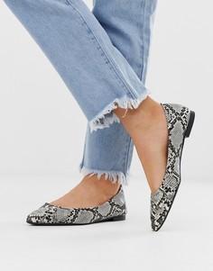 Остроносые туфли на плоской подошве со змеиным принтом New Look - Черный