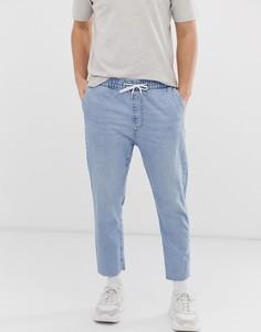 Голубые джоггеры в стиле джинсов Bershka - Синий