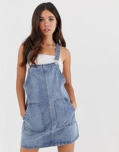 Синее джинсовое платье-комбинезон Missguided - Синий