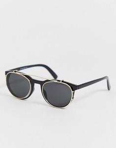 Черные солнцезащитные очки с поднимающимися стеклами New Look - Синий