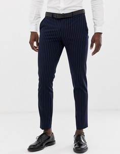Темно-синие зауженные брюки в полоску Burton Menswear - Темно-синий