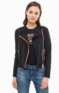 Легкая черная куртка с косой молнией Armani Exchange