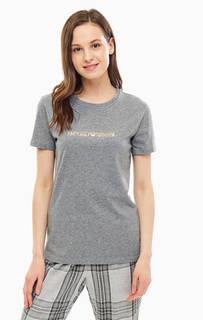 Серая хлопковая футболка с золотистым принтом Emporio Armani
