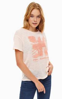 Коралловая футболка с необработанным краем Pepe Jeans