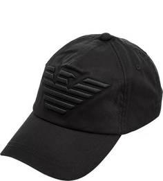 Черная хлопковая бейсболка с вышивкой Emporio Armani
