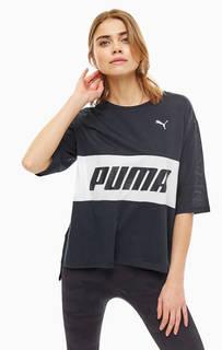 Черная футболка оверсайз с принтом Puma