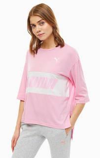 Розовая футболка оверсайз с принтом Puma