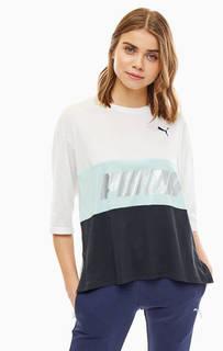 Трехцветная футболка оверсайз с принтом Puma