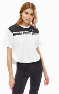 Укороченная плотная футболка с сетчатыми вставками Puma