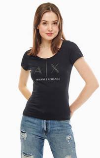 Черная футболка с декоративной отделкой Armani Exchange