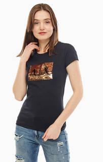 Черная футболка с отделкой пайетками Armani Exchange