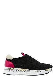 Черные кроссовки с контрастными вставками Premiata