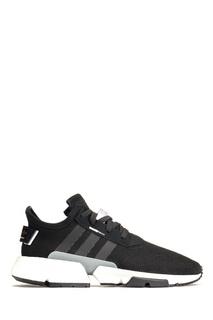 Черные кроссовки с белой подошвой Adidas