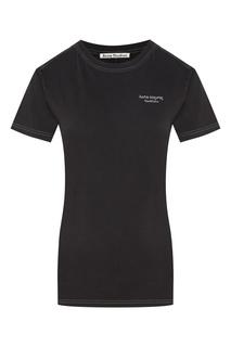 Черная футболка с белой строчкой и логотипом Acne Studios