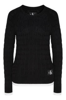Черный джемпер с контрастной отделкой Calvin Klein