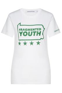 Белая футболка с принтом Calvin Klein