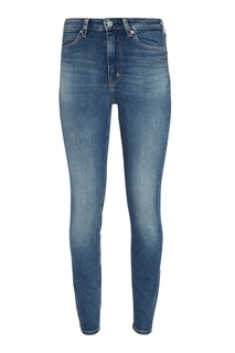 Зауженные джинсы с потертостями Calvin Klein