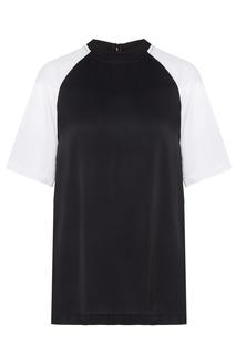 Черная футболка с белыми рукавами Calvin Klein