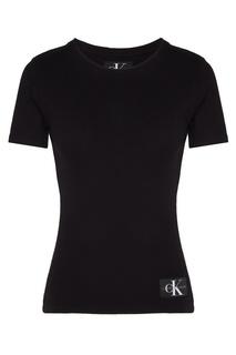 Облегающая черная футболка Calvin Klein