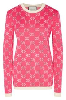 Бело-розовый джемпер с мотивом GG Gucci