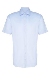 Хлопковая голубая рубашка с коротким рукавом Van Laack