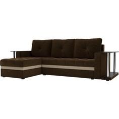Угловой диван АртМебель Атланта М 2 стола вельвет коричневый левый угол