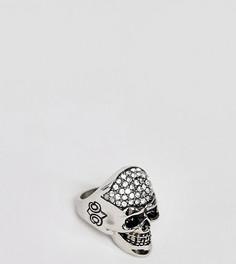 Кольцо из нержавеющей стали с черепом и камнями Reclaimed Vintage inspired эксклюзивно для ASOS - Серебряный