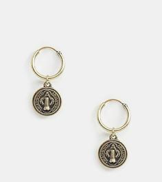 Золотистые серьги-кольца с монетами Reclaimed Vintage inspired эксклюзивно для ASOS - Золотой