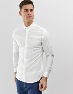 Облегающая рубашка из ткани с добавлением льна и длинными рукавами Jack & Jones Essentials - Белый
