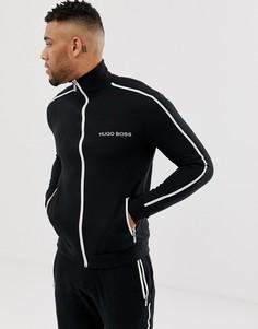 Черная куртка на молнии с логотипом BOSS Bodywear - Черный