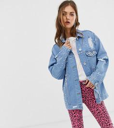 Джинсовая oversize-куртка с декоративной отделкой See You Never - Синий