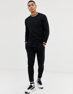 Черный спортивный костюм со свитшотом и джоггерами скинни ASOS DESIGN - Черный