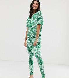 Пижамный комплект с пальмовым принтом ASOS DESIGN Tall - Мульти