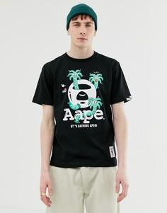Черная футболка с пальмовым принтом AAPE By A Bathing Ape X Steven Harrington - Черный