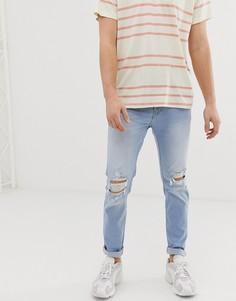 Светлые состаренные джинсы скинни Hollister - Синий