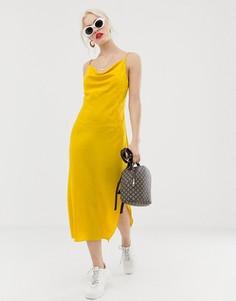 Желтое платье миди со свободным воротом New Look - Желтый
