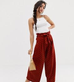 Широкие брюки из ткани на основе льна с присборенной талией и поясом ASOS DESIGN Petite - Мульти