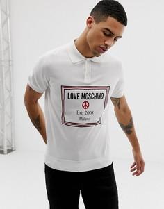 Трикотажная футболка-поло с логотипом на груди Love Moschino - Белый