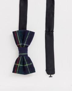 Темно-синий галстук-бабочка в клетку тартан Twisted Tailor - Темно-синий