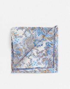 Синий платок для пиджака с цветочным рисунком Twisted Tailor - Белый