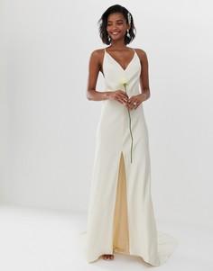 Платье на бретельках с разрезом спереди ASOS EDITION - Белый
