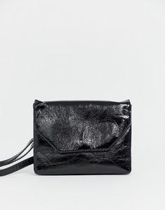 Лакированная сумка через плечо Monki - Черный