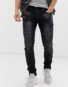 Черные джинсы скинни с байкерской отделкой Sixth June - Серый