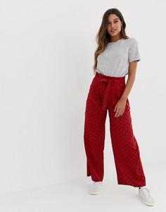 Широкие брюки из ткани на основе льна с присборенной талией и поясом ASOS DESIGN - Мульти