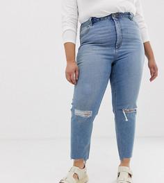 Светлые узкие рваные джинсы в винтажном стиле с завышенной талией ASOS DESIGN Curve Farleigh - Синий