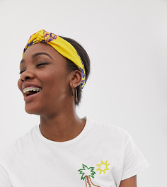 Желтая повязка на голову с цветочным принтом ASOS Made In Kenya - Мульти