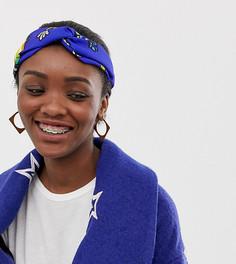 Синяя повязка на голову с цветочным принтом ASOS Made In Kenya - Мульти
