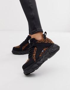 Кроссовки на массивной низкой платформе с леопардовым узором Buffalo Colby - Мульти