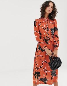 Платье-рубашка макси с абстрактным принтом Selected Femme - Мульти