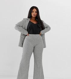 Расклешенные брюки с монограммным принтом из комплекта UNIQUE21 Hero Plus - Кремовый